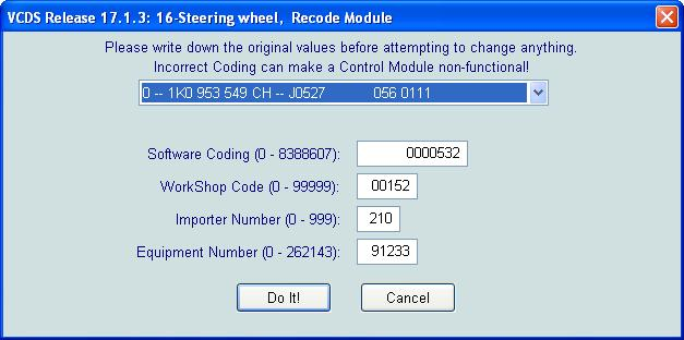 Long coding for ch steering module  - page 2 - Mk5 General